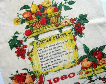 Vintage Kitchen Towel 1960 Calendar and Kitchen Prayer - Red Yellow Green, Fruits, Housewares, Home décor, Dish towel, Linen, Kitchen