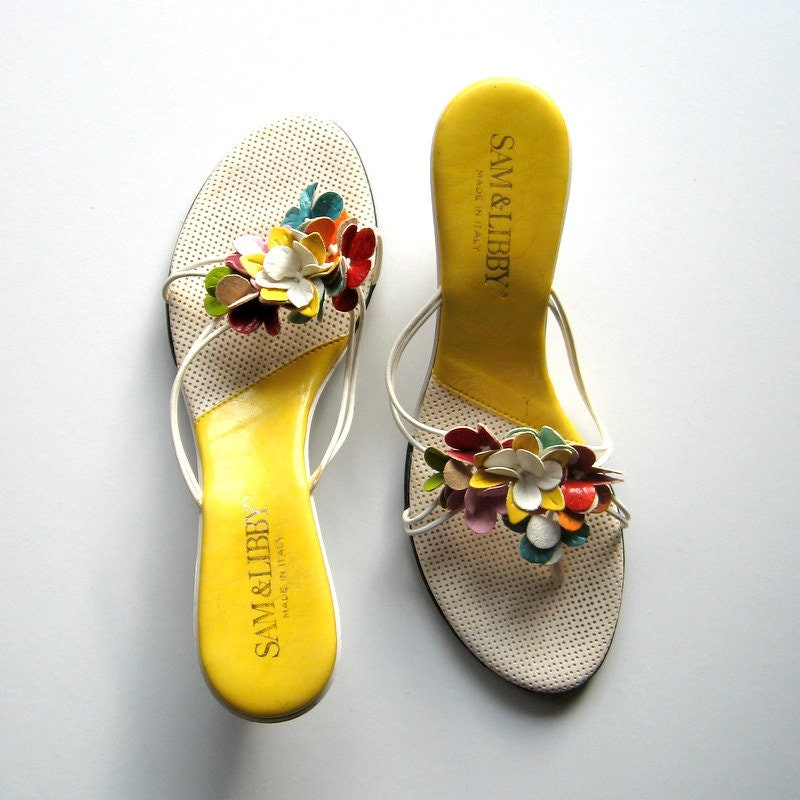 274656037fde9 Vintage Sandals - Sam & Libby - Floral - Kitten Heels, Slip-On Sandals,  Leather flowers, Multi color, Low heels, Summer, Made in Italy