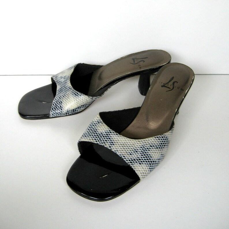 a5ecba8696afa Vintage LifeStride Sandals - Slip on sandals, Faux snakeskin, Kitten heels,  Low heels, Gray Black White, All man made materials, Size 7M