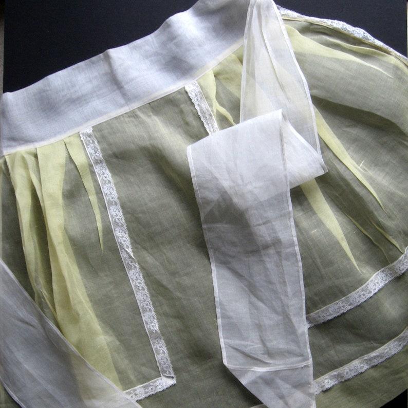 Half Apron Retro apron Butter yellow Cottage chic White lace trim Vintage Apron Mid century apron Semi sheer OrganzaNylon Apron
