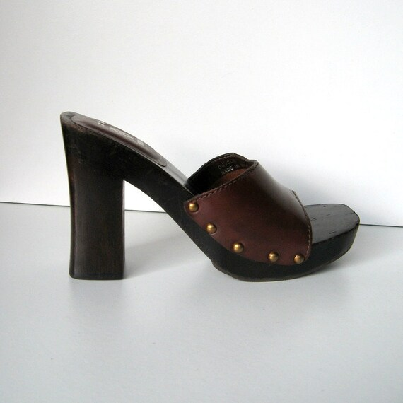 1022a56085fed Vintage Sandals - LEI - Dujour - Slip on sandals, Brown leather, Wooden  heels, Chunky sandals, Bronze studs, Made in Brazil, Size 5.5M