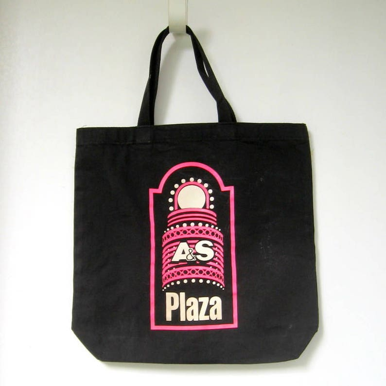 4e4917fdf801 Vintage Abraham and Straus Plaza Tote - 1980's - A and S Plaza, Promotional  tote, Canvas tote, Black and pink, Sturdy handles, Shopping bag