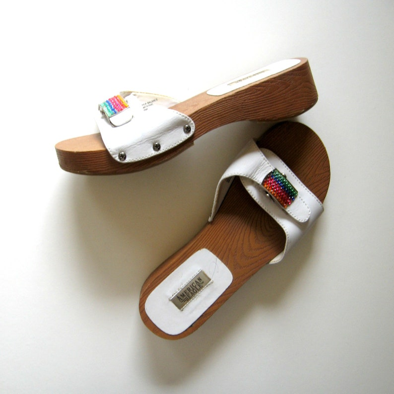 94c5c1f826933 Vintage Sandals - American Eagle Sandals - Stardust - White Leather,  Rainbow crystal buckled strap, Wooden platforms, Rubber soles, Size 6