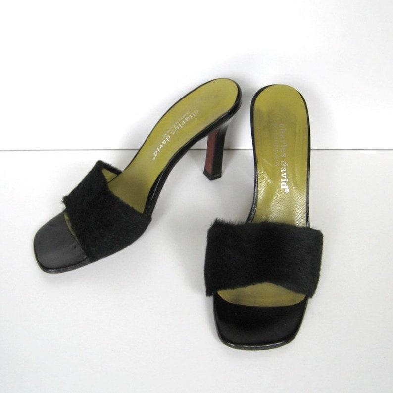 1a58550158baf Vintage Charles David Sandals - Designed by Nathalie M, Slip on sandals,  Faux fur, 4 inch heels, Leather sole, Made in Spain, Size 7.5B