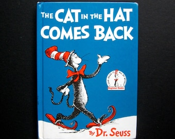 Vintage Book - The Cat in the Hat Comes Back - by Dr Seuss - 1986 - Rhyming, Humorous verse, Hard cover, Children's book, Collectible