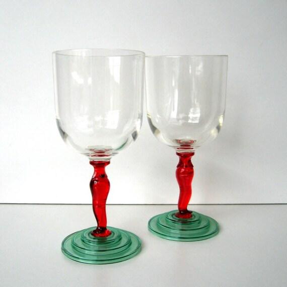 fa3d0f54193 Vintage Glasses Set of 2 Stemware Plastic Acrylic Chili