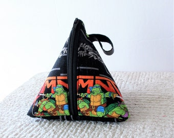 Triangle Purse Pyramid Pouch Small Zippered Notion Bag Beautiful Abstract Pattern