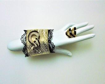 Cuff Bracelet earring set/ Vintage inspired Design/Handmade bracelet/Vintage Rhinestone Brooch and earrings/Statement Gift for her