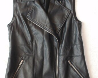 Cool Vintage Ladies Zippered  Vest.Great looking Polyurethane  Vest , Easy care. Stylish collar ,Metal zippered pockets . Gifts for women