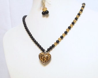 Leopard Theme Necklace.Puffed Heart Bead  24  X 18 mm, Leopard Design  Necklace  17   inches ,matching   earrings .Handmade  Jewelry Gift  .