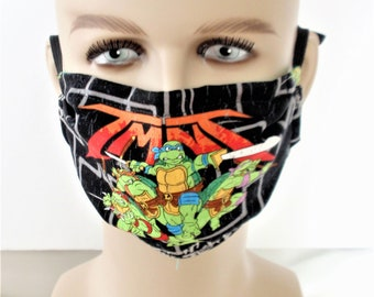 Ninjas Turtle mask ,3 layer /ADULTS/TEEN/CHILD sizes. Nose wire option, reusable/washable/ Filter pocket /Cotton Adjustable elastic,Handmade