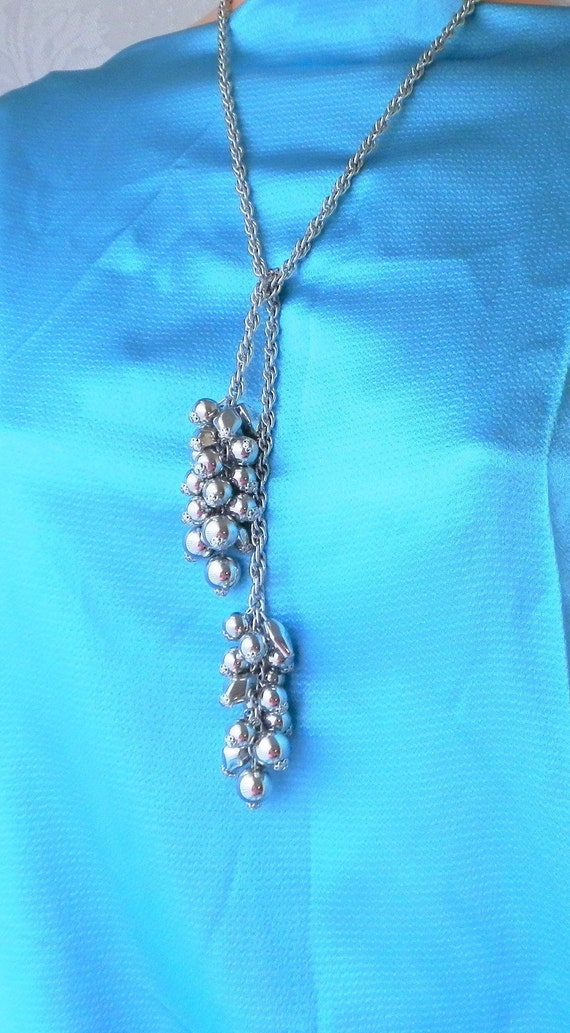 Repurposed Chandelier Necklace with Pink Pearls Clear and Pink Beads and Silver Chain 14 34 Handmade