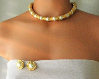 Vintage choker necklace & earrings/ statement necklace/Magnetic clasp/Goldtone textured Brass/Pearl spacers/ solid 10 mm thick /Gift for her
