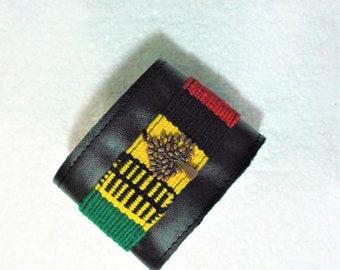 Leather Cuff Bracelet/Abundance flourishing Tree dangle /woven cotton layer/Ethnic colors/upcycled Leather /unisex gift/Handmade bracelet
