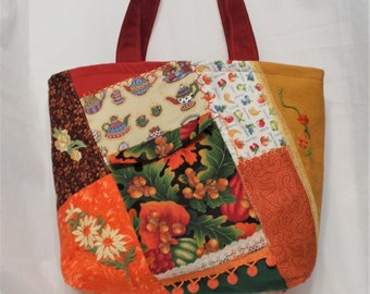 """Thanksgiving Crazy Quilt Patchwork Tote bag/ 16 """" W X 15 """" High X 4 """" Deep/Hostess Gift Bag/ Quilted Tote /Fall colors/ tote/Gift for her"""