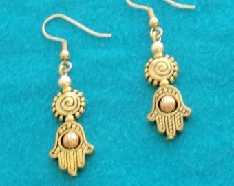 Hamsa Earrings .Good Luck Charm. Symbol of Blessings , Handmade , personalized  drop earrings , Gifts,One of a kind .Gifts for women