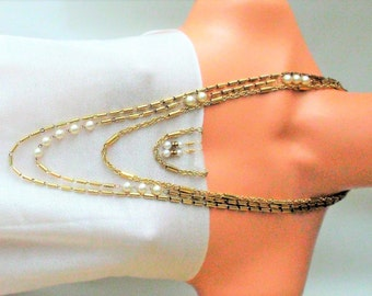 Vintage 3 strand Gold Brass & Pearls/extra long necklace. shiny Brass cylinders/necklace earring set / Estate jewelry/statement Gift for her