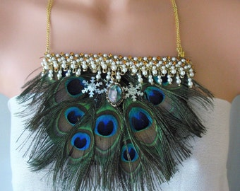 Peacock Feathers necklace/Natural Peacock feathers/Bib necklace & earrings set/Adjustable /alleged good Luck feathers/Handmade  Gift for her