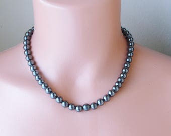 """Hematite Necklace Earring Set . Handmade Necklace 18 """". Hematite semi precious Gemstone necklace and earrings Gift set . unisex gifts"""