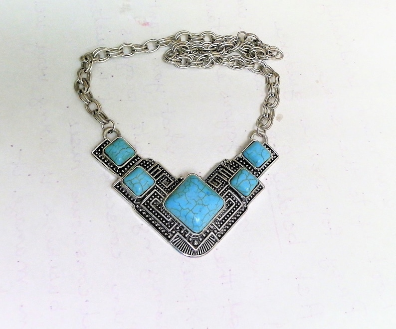 Necklace Earring set 3  extender.Drop earrings Classy  Statement Gift for her Vintage Turquoise Antique Silver Bib necklace 17