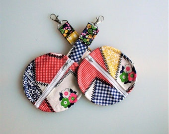 Coin Purse 4.5 inch / Patchwork design Cotton fabric /Zipper pouch/ Storage for Sanitizer, Earbud, Key , Coins, Pacifier/ Handmade / Gift