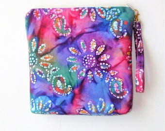 """Zippered Pouch.Batik, Tall .Vibrant Floral Colors, 11 """" Wide X 10 """" High X 2 """" bottom, Large Pocket inside ,Cosmetic Bag, Project Bag,Purse,"""