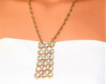 """Vintage Necklace ,Bridal, Statement Necklace. 22 inches. Rhinestone Bib Pendant 2.5"""" X 1"""". Re purposed Jewelry from Antique Jewelry"""