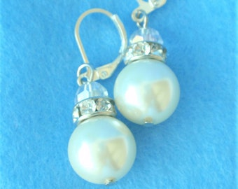 """Pearl Drop Earrings  1.25"""" ,Ivory Pearl  10 mm, Rhinestones, Crystal AB  glass bead. You select your ear wire. Bridal , Prom, jewelry"""