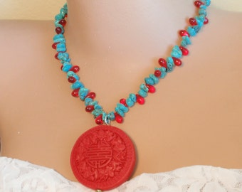 """Turquoise , Crystal teardrop beads.Cinnabar Pendant Necklace .Chinese Longevity Symbol carving on Pendant, 17 """". Handmade Gifts"""