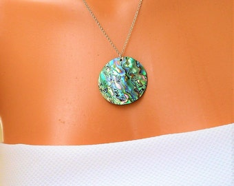 """Abalone,Sterling Silver 925 Necklace, Round Abalone Disc,Deep Sea, Rainbow Shell .40 mm/1.5"""" Beautiful Jewelry Gift , Bridal, Birthday"""