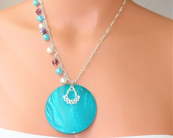 """Shell Pendant Necklace , Handmade . One Of A Kind .Turquoise carved Shell 2 """" X 2"""". Necklace 18 inch Figaro chain.Glass Pearls . Gifts ."""