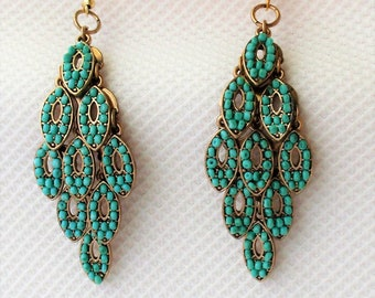 Boho Drop Earrings. Tori Spelling Pendant drop Earring . Beautiful Turquoise color beads on Stainless Steel.You select ear wire , you want