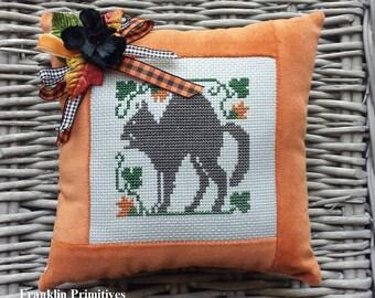 Black Cat Pillow Vintage Style Handmade Orange Velvet Ticking Cross Stitch Primitive Rustic Folk Art Harvest Autumn Halloween Decoration