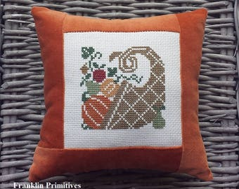 Cornucopia Pillow Vintage Style Handmade Orange Velvet Ticking Cross Stitch Rustic Primitive Folk Art Thanksgiving Fall Harvest Decoration