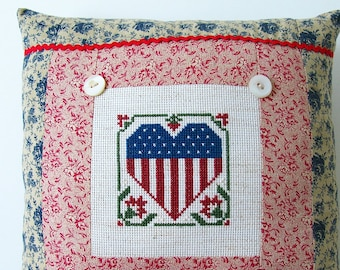 American Flag Heart Pillow Vintage Primitive RusticRed Calico Ticking Cross Stitch 4th of July Memorial Day Patriotic Americana Summer Decor