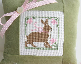 Bunny Pillow Cross Stitch Green Velvet Checks Baby Nursery Rabbit Easter Spring Primitive Rustic Folk Art Farmhouse Decor