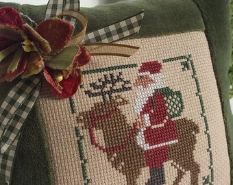 Santa Pillow Vintage Primitive Green Velvet Ticking Cross Stitch Checks Primitive Folk Art Rustic Farmhouse St Nick Christmas Decoration