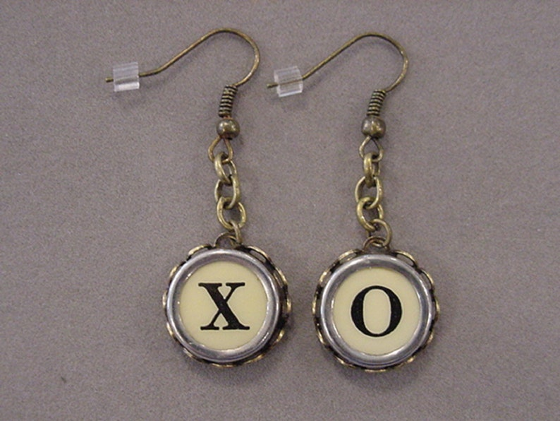 30fc2d6413bbc Bronze Typewriter Key Jewelry Earrings X O HUGS and KISSES Dangle Cream  Typewriter Key Earrings recycled jewelry steampunk