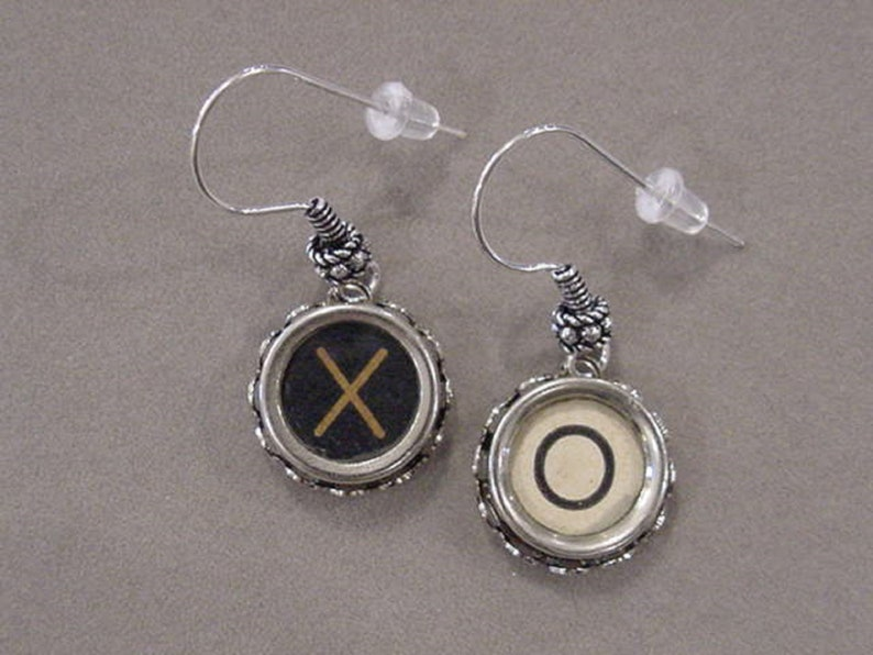 e056088f0113e Typewriter Key Jewelry Earrings X O HUGS and KISSES Black and Tan Cream  Glass Typewriter Key Earrings recycled jewelry steampunk jewelry