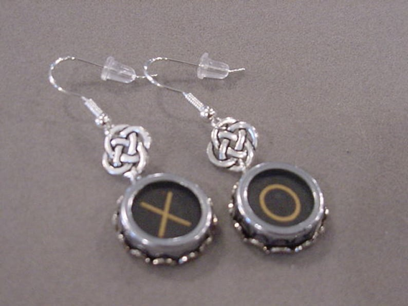 8717e31e01128 Typewriter Key Jewelry Earrings X O HUGS and KISSES Knot charms Vintage  Typewriter Key Earrings recycled jewelry retro