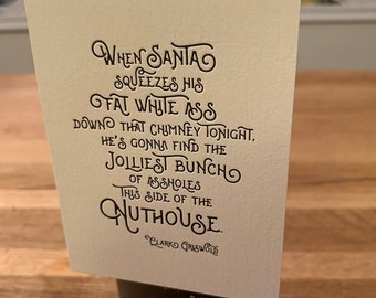 """Letterpress Wine & Spirit Tag - """"Jolly A-Holes Griswold"""""""