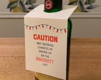 "Letterpress Wine & Spirit Tag - ""Caution: Naughty List"""