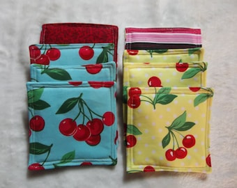 QUILTED COASTERS, Set of 4, Bright Red Cherries on a Blue(qty 2) or Yellow(qty 1) Background!