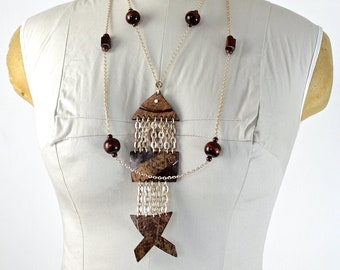 Fish Necklace / Fish Skeleton Necklace / Articulated Fish necklace
