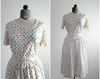 Bird Dress • 70s Bird Dress • Bird Print Dress • 70s Dress • Sparrow Dress • 1970s Dress • Birds in Flight Dress • Novelty Print Dress