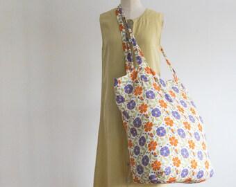 FLAX linen market tote - poppy floral linen bag