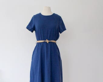 90s Chambray Dress | Vintage 90s Dress | Vintage Chambray Dress | Orvis Dress | Midi Blue Dress | Denim Dress | Fit and Flare Dress