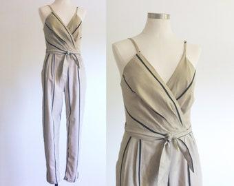 Striped Cotton Jumpsuit / Spaghetti Strap Jumpersuit / Vintage Jumpsuit / Taupe Jumper / Black Stripe Romper
