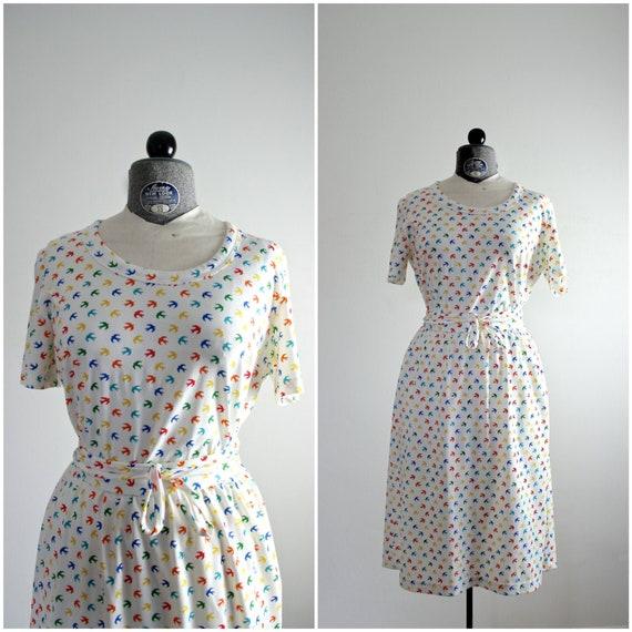 Bird Dress • 70s Bird Dress • Bird Print Dress • 7