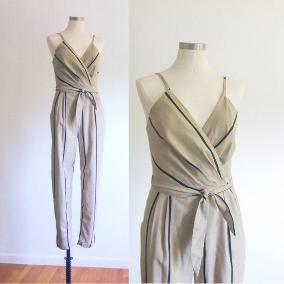 Striped Cotton Jumpsuit / Spaghetti Strap Jumpersu